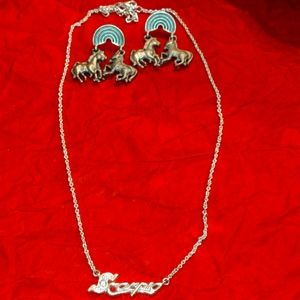 Silver Scorpio necklace and horse / zebra earrings
